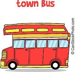 cidade, autocarro, vetorial, ilustração