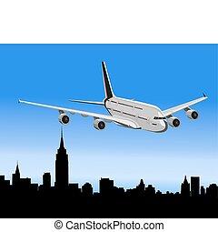 cidade, avião, acima