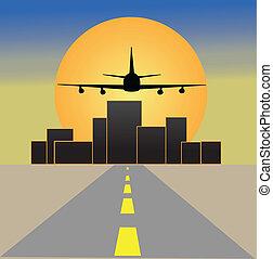 cidade, avião, pôr do sol