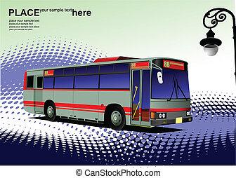 cidade, azul-vermelho, vetorial, bus., il, coach.