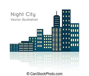 cidade, backgrpund., ilustração, vecor, noturna, branca