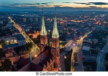 cidade, basílica, aéreo, centro, rybnik., zangão, vista