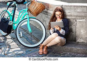 cidade, bicicleta, centro, executiva, trabalho, telefone, ir, fundo, antigas, falando