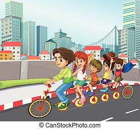 cidade, bicicleta, família, montando