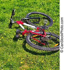 cidade, bicicleta, ligado, grama verde, ., não, pessoas.