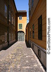 cidade, budapest, rua, antigas
