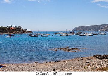 cidade, cadaques, catalonia, espanha, baía