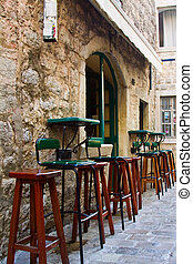 cidade, cadeiras, antigas, barzinhos
