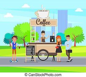 cidade, café, rua, estudantes, parada, vetorial