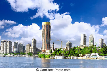 cidade, cairo, nile, egypt., river., seafront