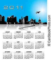 cidade, calendário, 2011