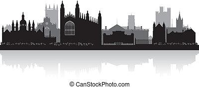 cidade, cambridge, silueta, ilustração, skyline, vetorial