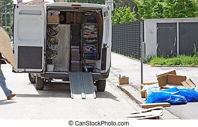 cidade, caminhões, coisas, remoção, meio, rua, levantar, durante,  disassembly