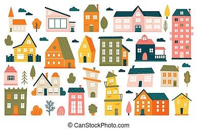 cidade, caricatura, pequeno, ícones, houses., casa, cidade, edifícios, suburbano, cute, minimalism, minúsculo, casas, vetorial, jogo, residencial, ilustração, mínimo