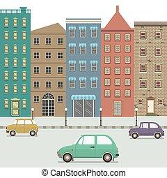 cidade, carros, três, ilustração, vetorial, tipo