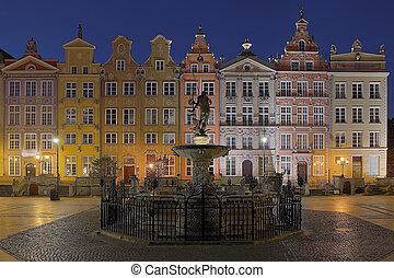 cidade, casas, antigas, gdansk, poland.
