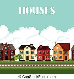 cidade, casas, borda, seamless, cabanas