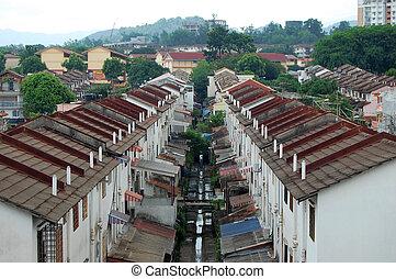 cidade, casas, kuala lumpur, subúrbio