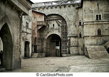 cidade, castelo, medieval, europeu