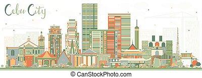 cidade, cebu, edifícios., cor, filipinas, skyline