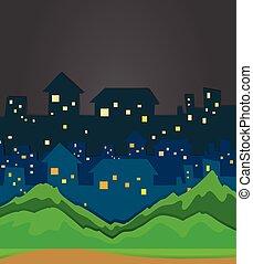 cidade, cena noite, tempo