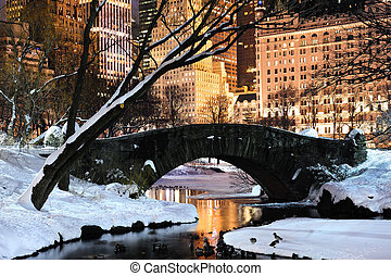 cidade, central, anoitecer, panorama, parque, york, novo, manhattan