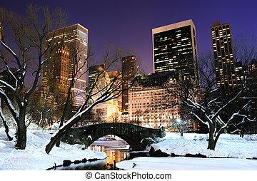 cidade, central, anoitecer, panorama, parque, york, novo,...