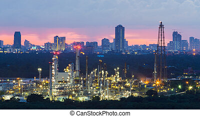 cidade, centro cidade, central, negócio, refinaria, óleo