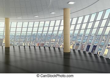 cidade, centro, negócio, chão, topo, corredor, vazio, vista