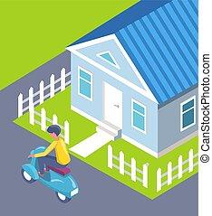 cidade, cerca, casa, scooter, vetorial, passagem, homem