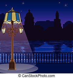 cidade, cerca, quay, night:, ilustração, skyline, lamppost