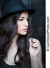 cidade, chapéu, retrato, verão, mulher, dia, jovem