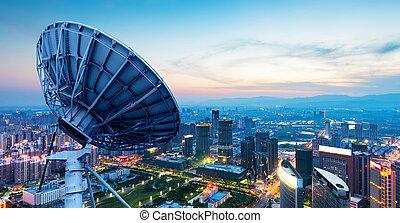 cidade, china, luzes, nanchang