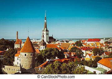 cidade, cidade, antigas, estónia, panorâmico, tallinn, cityscape, vista