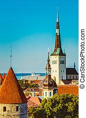 cidade, cidade, antigas, estónia, panorâmico, tallinn,...