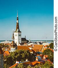 cidade, cidade, antigas, estónia, panorâmico, tallinn, paisagem, vista