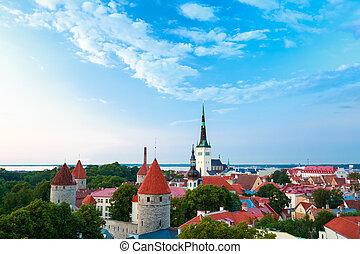 cidade, cidade, antigas, estónia, tallinn, cityscape