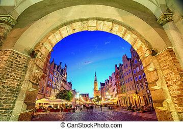 cidade, cidade, antigas,  Gdansk, Polônia, principal, corredor