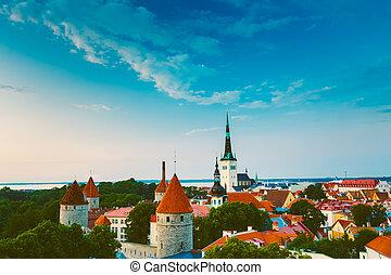 cidade, cidade, antigas, panorama, panorâmico, tallinn, panorâmico, paisagem, vista