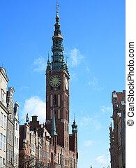 cidade, cidade, antigas, polônia, -, gdansk, corredor