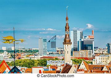cidade, cidade, antigas, tallinn, estónia
