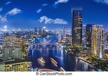 cidade, cidade, bangkok, noturna