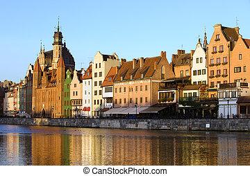 cidade, cidade,  Gdansk, antigas