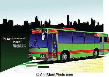 cidade, cidade, green-red, autocarro, panorama