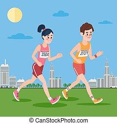 cidade, cidade, mulher, runners., executando, através, maratona, homem
