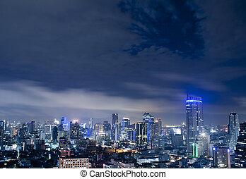 cidade, cidade, tailandês, noturna, bangkok