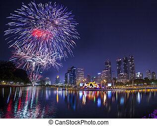 cidade, cidade, tailandia, noturna, bangkok