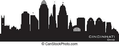 cidade, cincinnati, skyline, vetorial, ohio, silueta