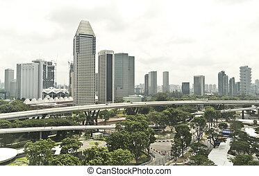 cidade, cingapura, vista