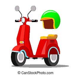 cidade, clássicas, scooter, transport., isolado, apartamento, ilustração, vector., caricatura, vermelho